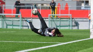 Andrea, durante un lance del partido entre el At. Madrid Féminas - Collerense,