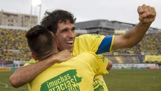 Valerón celebra el regreso de la UD Las Palmas a la Liga BBVA - EFE/ÁNGEL MEDINA G.