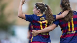 Irene del Río celebra uno de los siete tantos que el FC Barcelona le marcó al Santa Teresa.