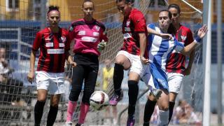 Un lance del partido entre el Espanyol y el Sporting Huelva.