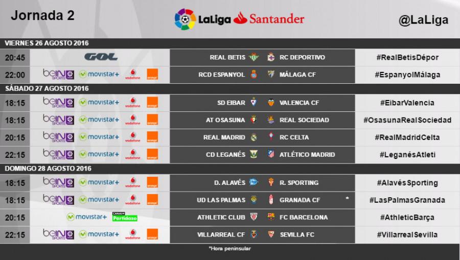 atractivo y duradero venta oficial estilo novedoso Horarios de la jornada 2 de LaLiga Santander 2016/17 | Liga ...