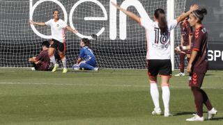 Marianela celebra uno de los dos tantos que marcó ante el F. Albacete.