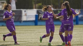 El Granadilla Egatesa celebra el gol del empate ante el Zaragoza CFF.