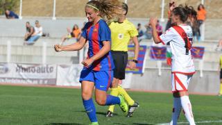 Alexia Putellas celebra uno de sus goles en el Rayo - FC Barcelona.