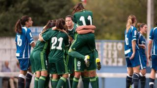 El Betis celebra su primera victoria en la Liga Femenina Iberdrola.
