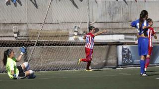 Sonia Bermúdez celebra uno de los dos tantos que marcó ante el UD Tacuense.