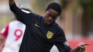 Añonman celebra su primer gol con la camiseta del At. Madrid Femenino.