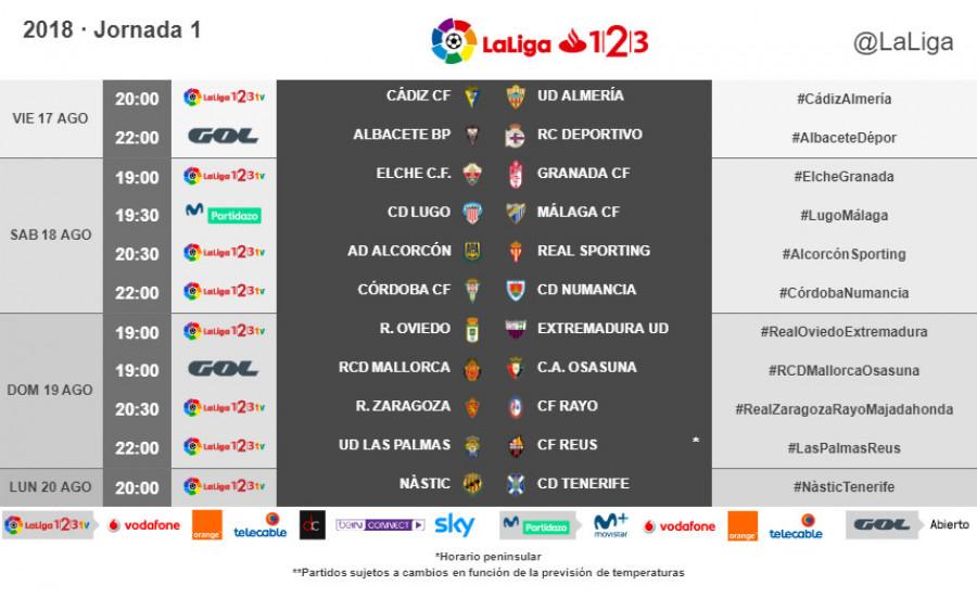 As Calendario Liga 123.Horarios De La Primera Jornada De Laliga 1l2l3 2018 19