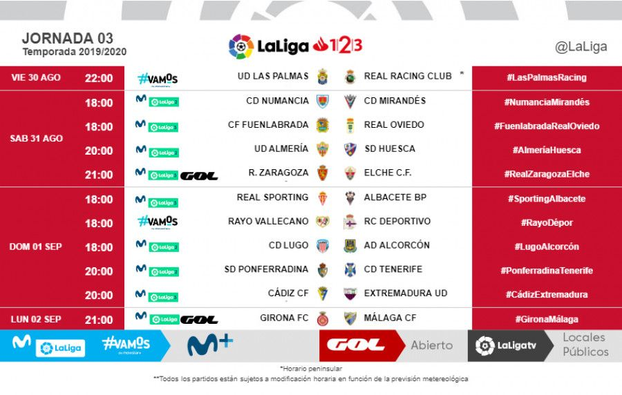 Horarios jornada 3 LaLiga 1|2|3 2019/20