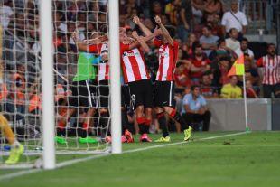 Así celebraron los jugadores del Athletic el 1-1