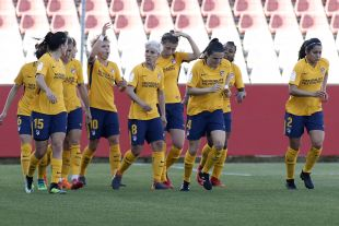 El Atlético celebra el tanto de Amanda Sampedro.