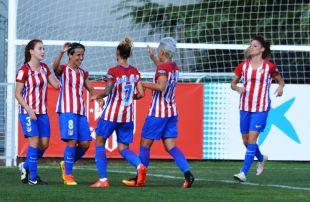 Sonia Bermúdez marca el primer tanto del Atlético.
