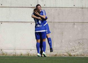 La alegría de la UD Tacuense tras anotar sus primeros goles en la Liga Iberdrola ante el Oiartzun KE.