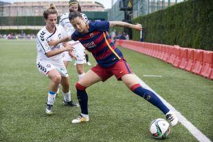 Jenni Hermoso, que marcó los dos tantos del partido, durante una jugada del encuentro ante el F. Albacete.