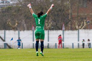 Oihana celebra el tanto de la victoria del Oiartzun KE ante el Espanyol.