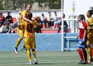 Patri Guijarro celebra su gol ante el Collerense.