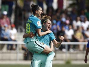 Jenni Hermoso marcó los dos tantos de la victoria culé ante el Tacuense.