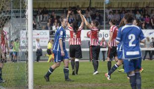 Lizaso celebra uno de los cinco tantos que marcó el Athletic ante el Oiartzun.