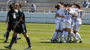 El Albacete celebra el importante triunfo ante el Alacine.