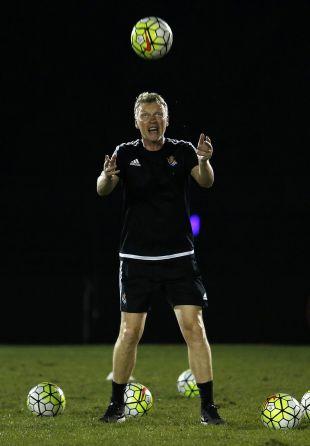 David Moyes, muy activo en el entrenamiento