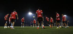 El equipo madrileño se ejercitó preparando el partido del Gira LFP World Challenge contra la Real Sociedad