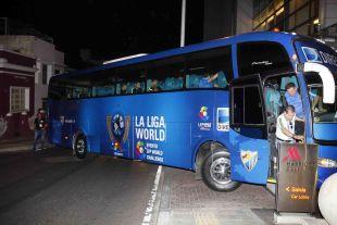 La expedición del Málaga, a su llegada al hotel de Cali.