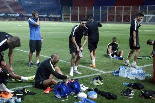 Javi Gracia dirigió una sesión de hora y media antes del día del partido