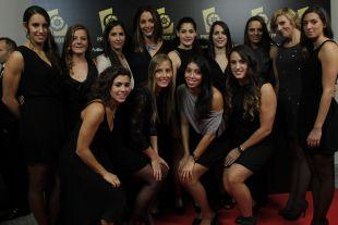 Las jugadoras de la selección española de waterpolo, en la Gala LFP 2013