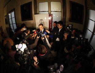 El presidente Javier Tebas atendió a los medios durante la Jornada Jurídica sobre el juego limpio