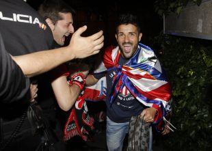 Villa, exultante por conseguir la décima Liga BBVA del Atlético de Madrid