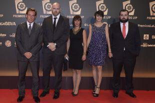 Representantes del Girona FC en la alfombra roja de la 'Gala de los Premios LFP 2014'