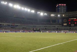 Plano general del Shanghai Stadium con el marcador que refleja el contundente triunfo del Atlético ante el Shanghai SIPG.