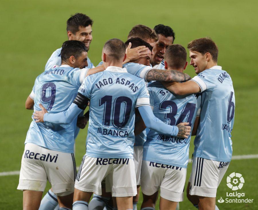 Celebración de gol de Carreira (Foto: LaLiga).